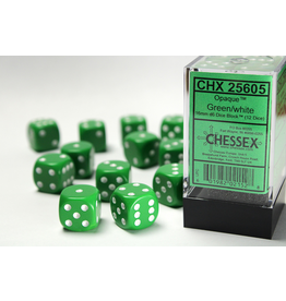 Chessex D6 Cube 16mm Opaque Green/White