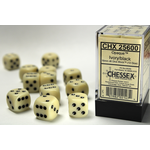 Chessex D6 Cube 16mm Opaque Ivory/Black
