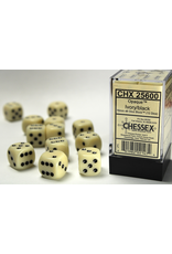 Chessex Dice: D6 Cube 16mm Opaque Ivory with Black Pips (CHX)
