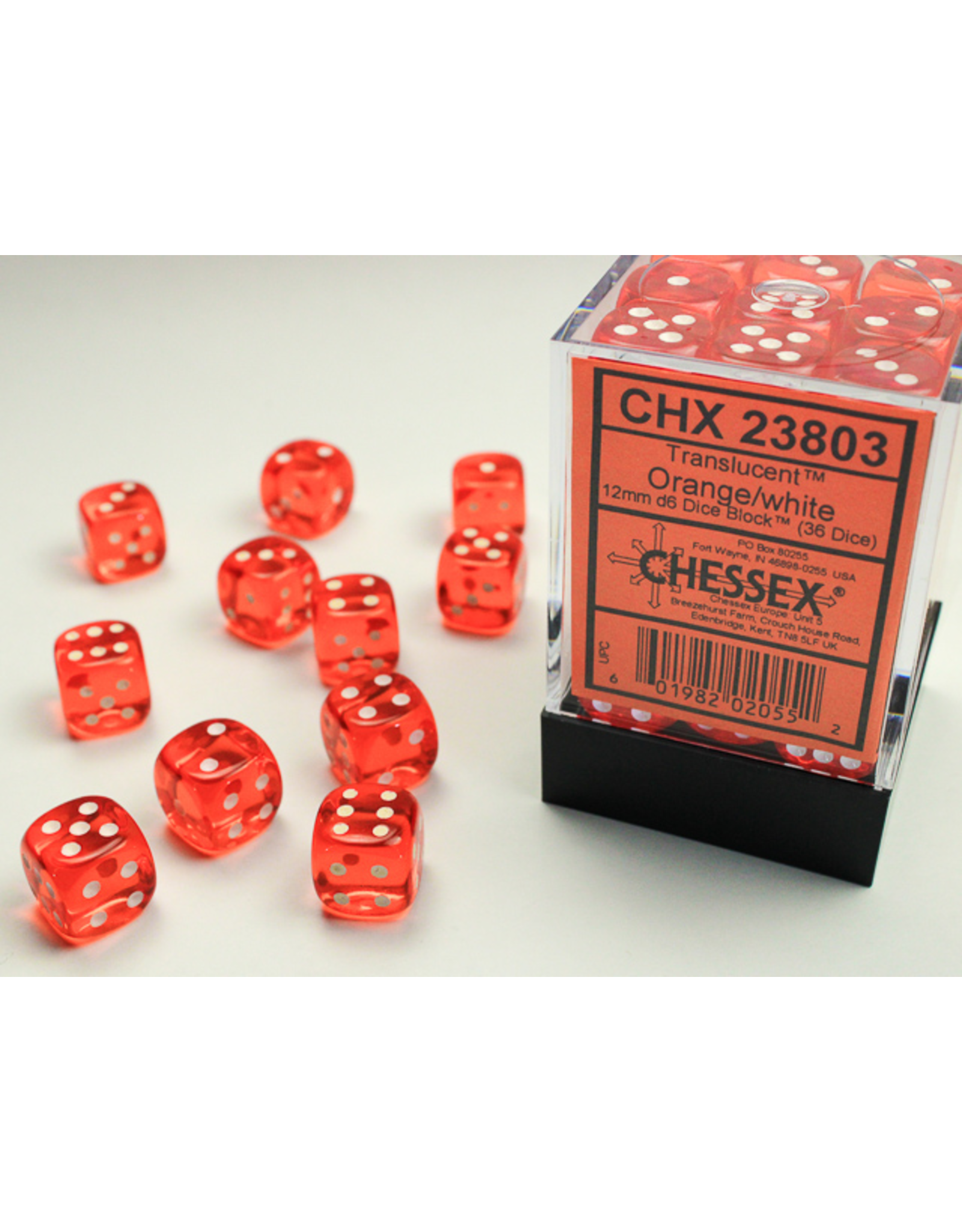 Chessex Dice: D6 Cube 12mm Translucent Orange with White Pips (CHX)