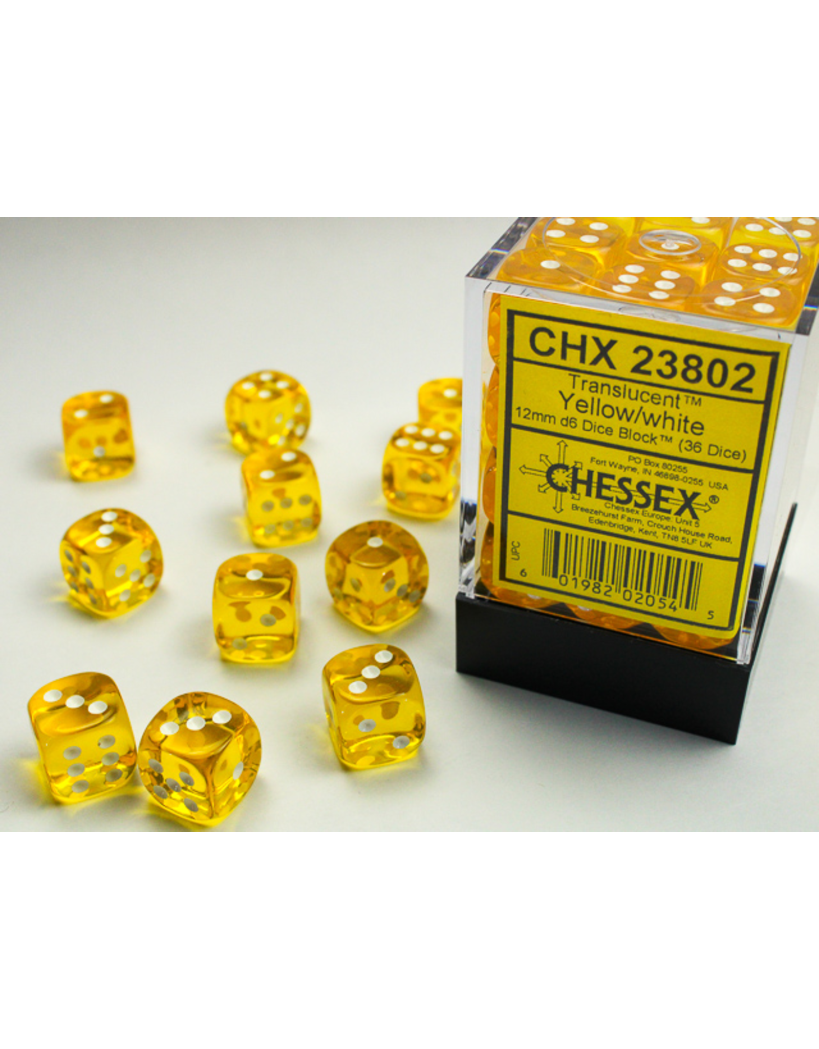 Chessex Dice: D6 Cube 12mm Translucent Yellow with White Pips (CHX)