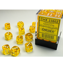 Chessex D6 Cube 12mm Translucent Yellow w/White