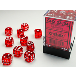Chessex D6 Cube 12mm Translucent Red w/White