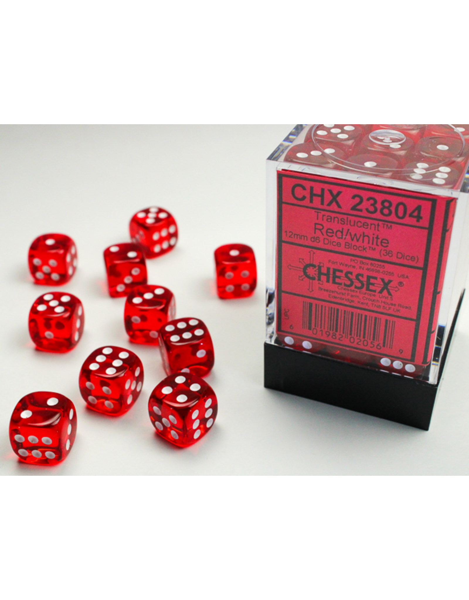 Chessex Dice: D6 Cube 12mm Translucent Red with White Pips (CHX)