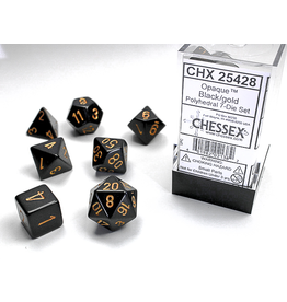 Chessex 7-Set Cube Opaque Black w/ Gold Numbers