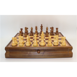 """Worldwise Imports [Pickup Only] Chess Set 18"""" Walnut/Maple with Drawer and 3.75"""" Sheesham/Boxwood Pieces"""