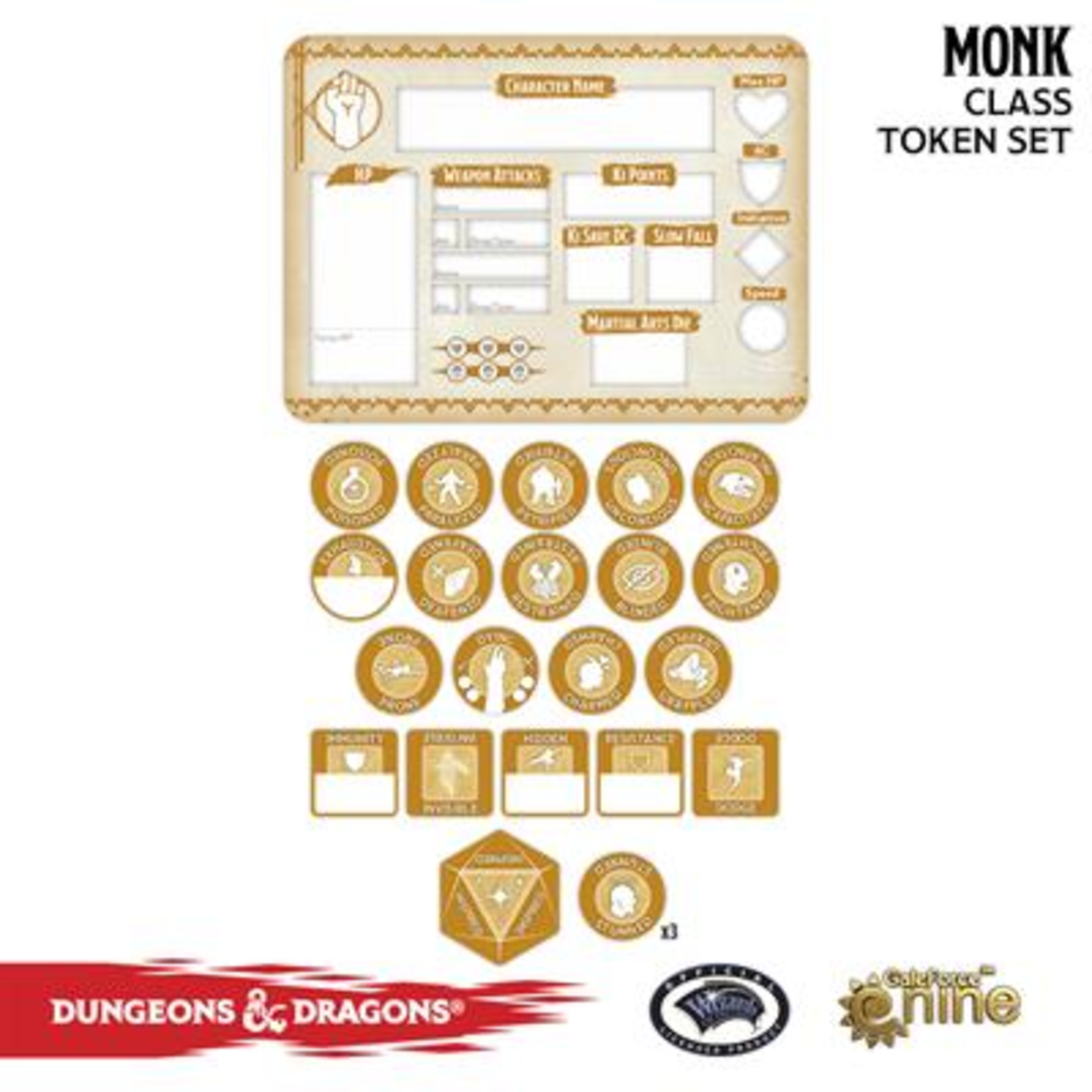 Gale Force Nine Dungeons & Dragons 5th Edition Token Set & Player Board: Monk