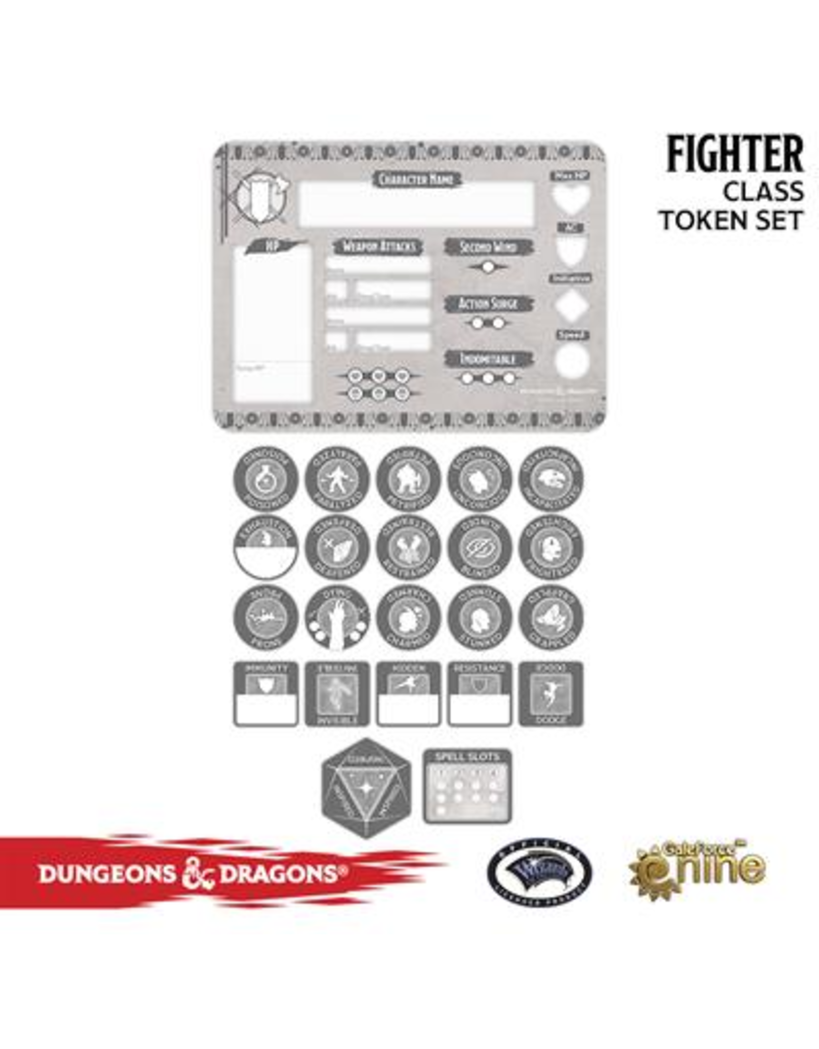 Gale Force Nine Dungeons & Dragons 5th Edition Token Set & Player Board: Fighter