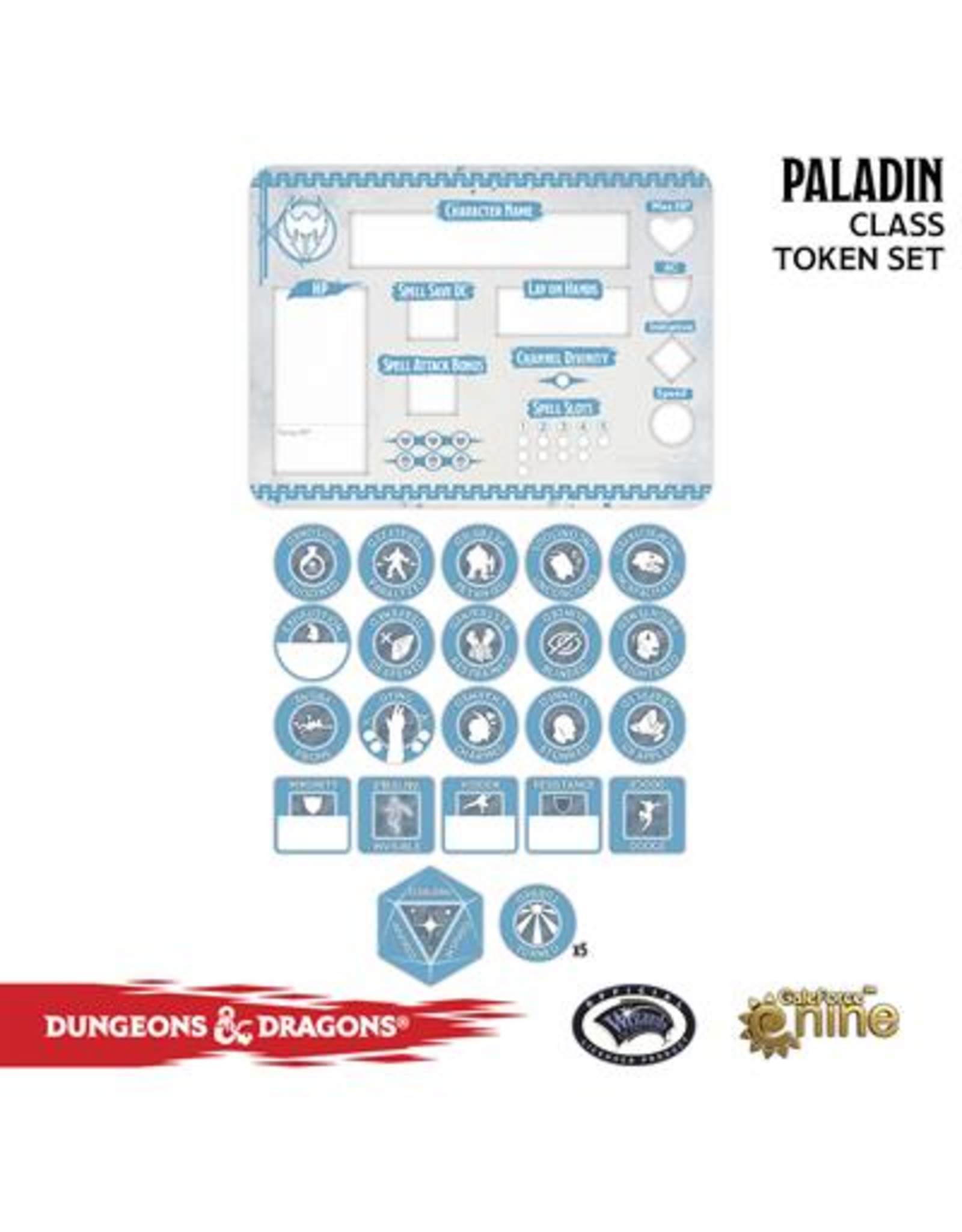 Gale Force Nine Dungeons & Dragons 5th Edition Token Set & Player Board: Paladin