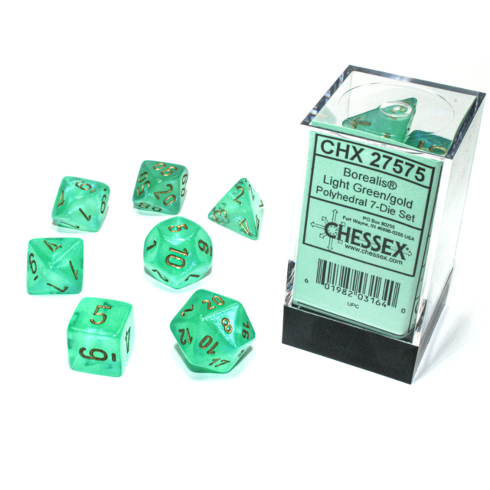 Chessex Dice: 7-Set Borealis Luminary Light Green with Gold Numbers (CHX)