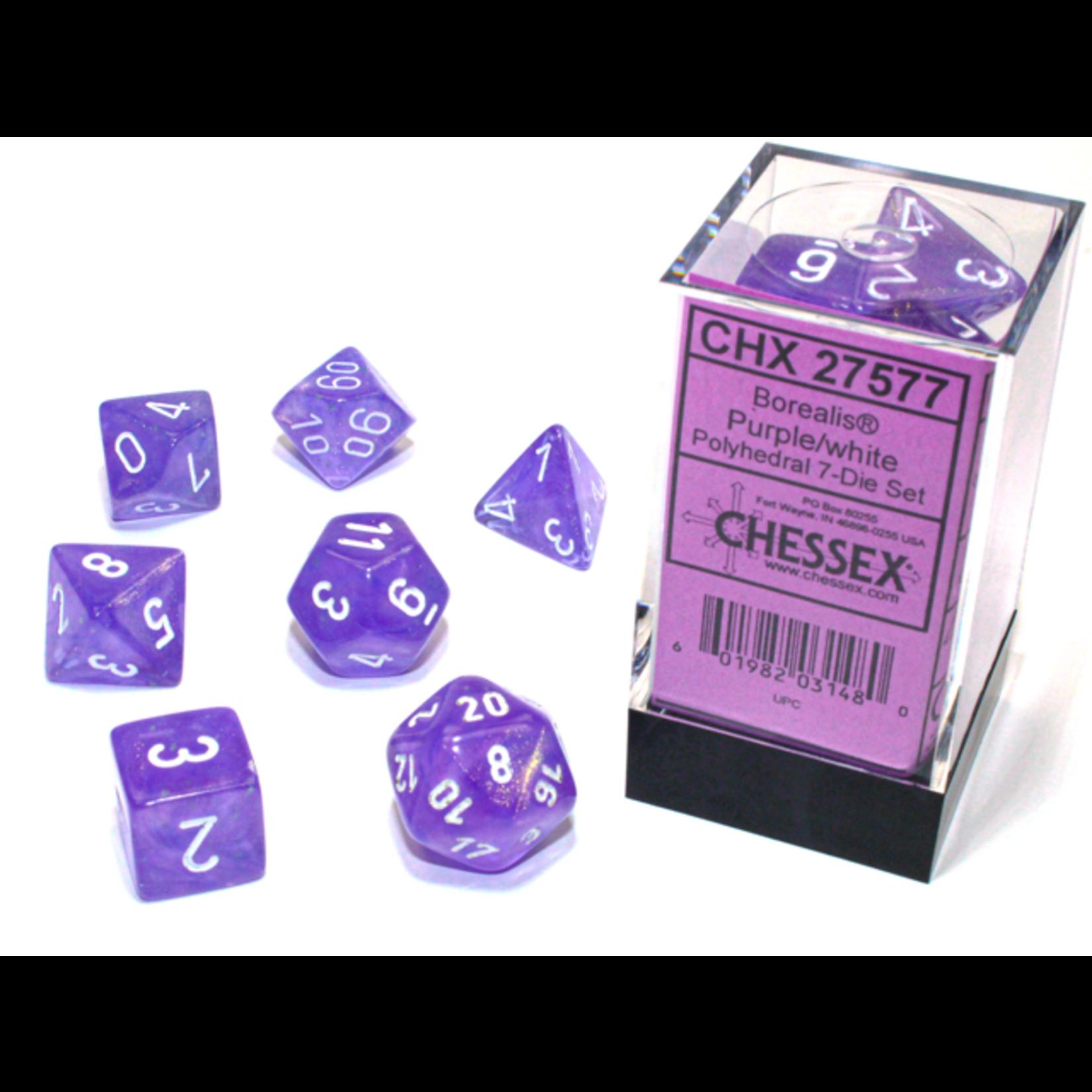 Chessex Dice: 7-Set Borealis Luminary Purple with White