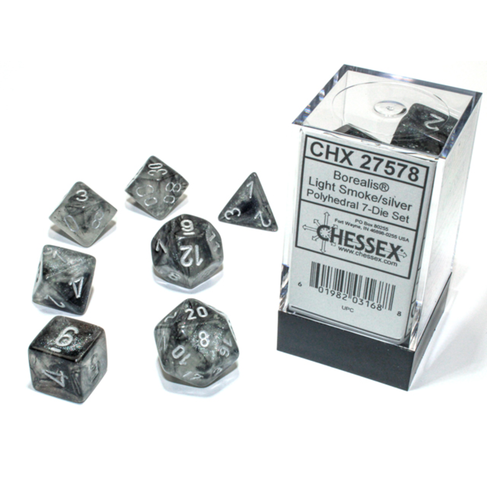 Chessex Dice: 7-Set Borealis Luminary Light Smoke with Silver (CHX)