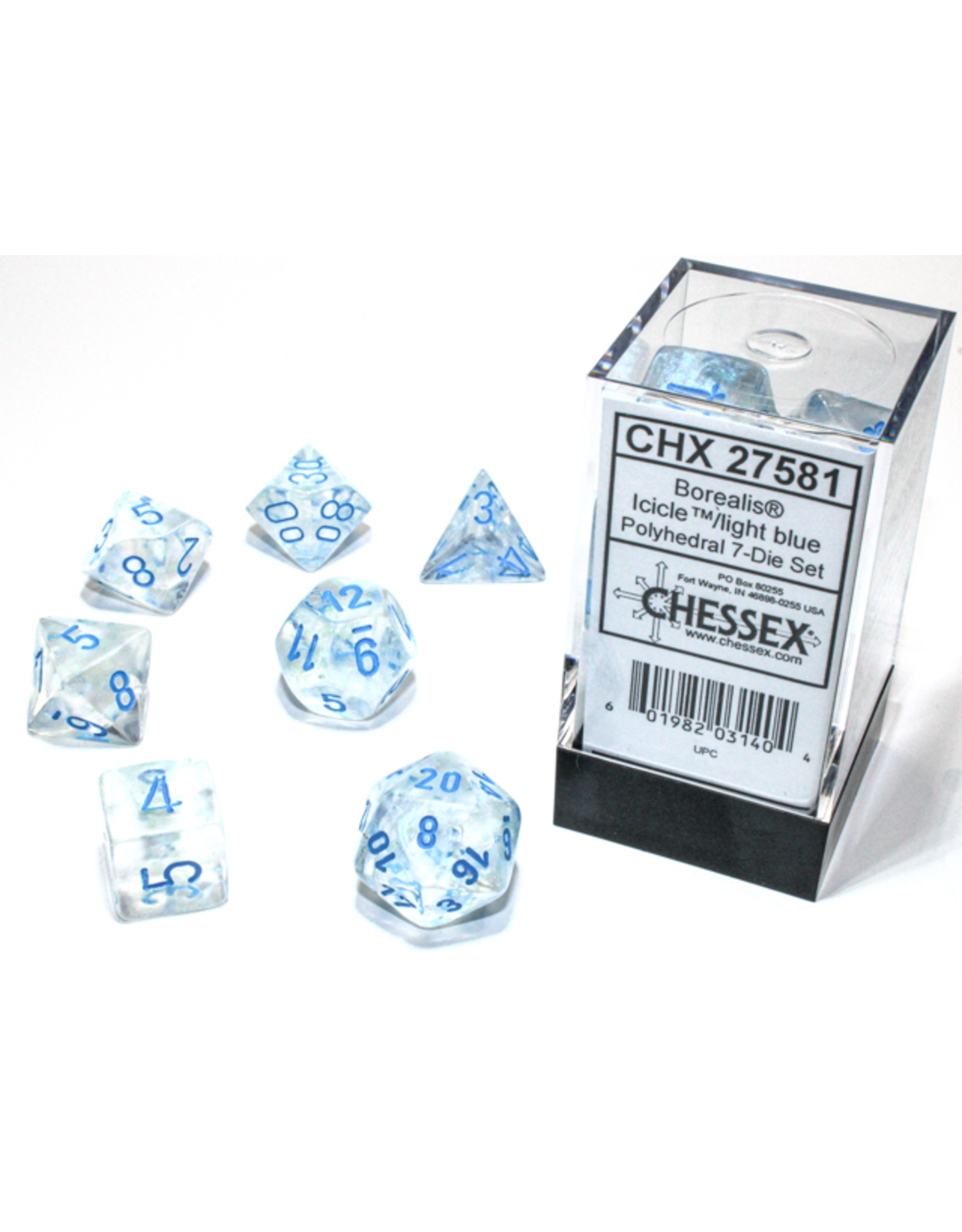Chessex Dice: 7-Set Borealis Luminary Icicle with Light Blue Numbers (CHX)