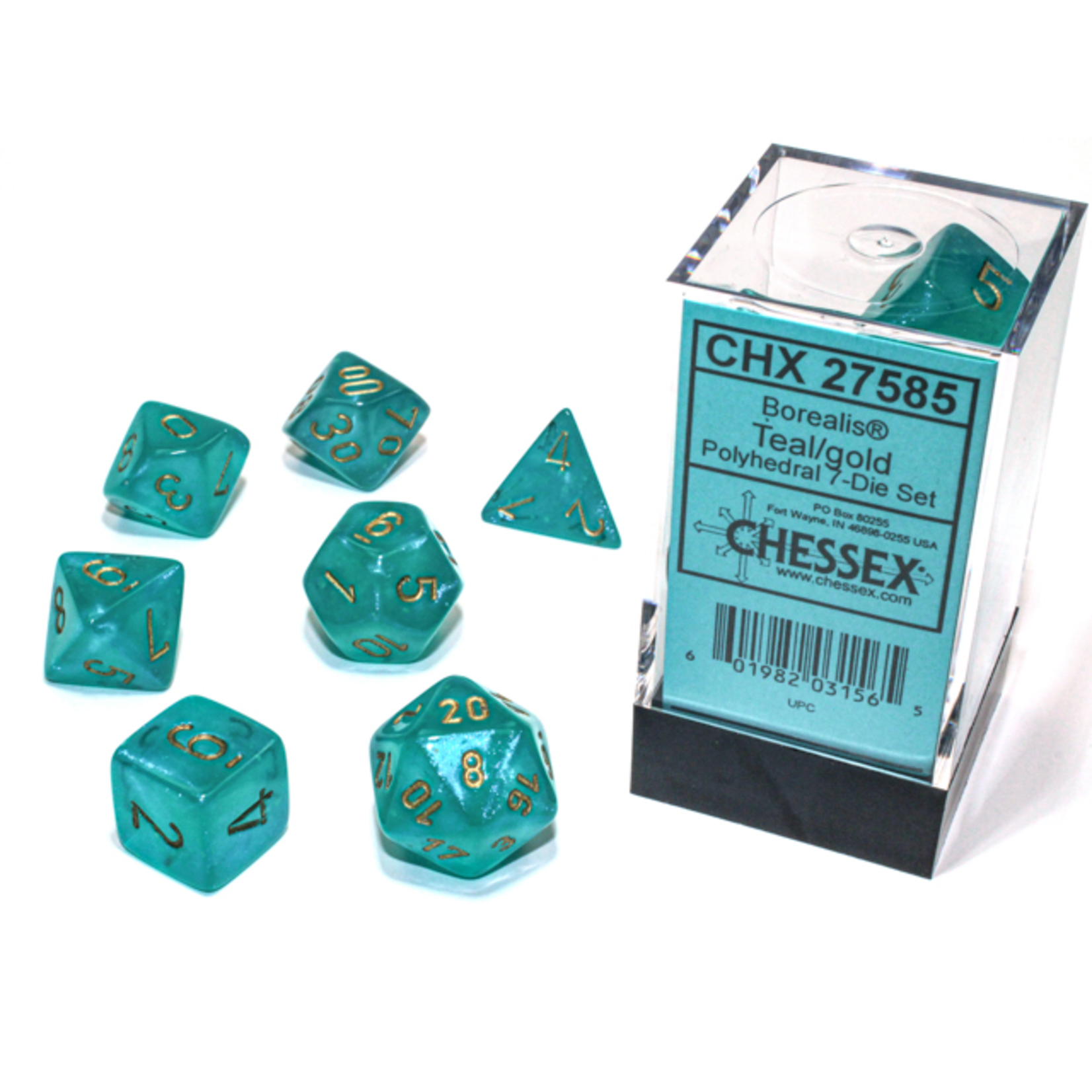 Chessex Dice: 7-Set Borealis Luminary Teal with Gold Numbers (CHX)
