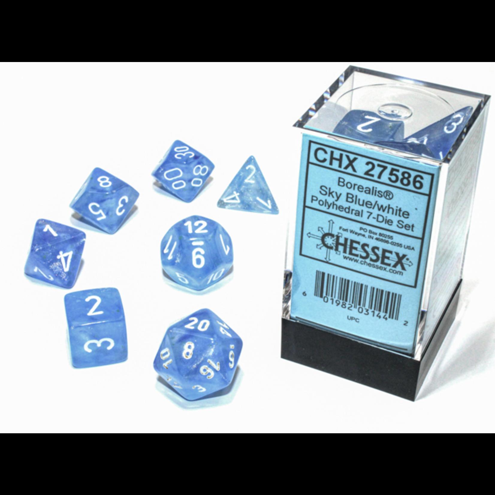 Chessex Dice: 7-Set Borealis Luminary Sky Blue with White Numbers (CHX)