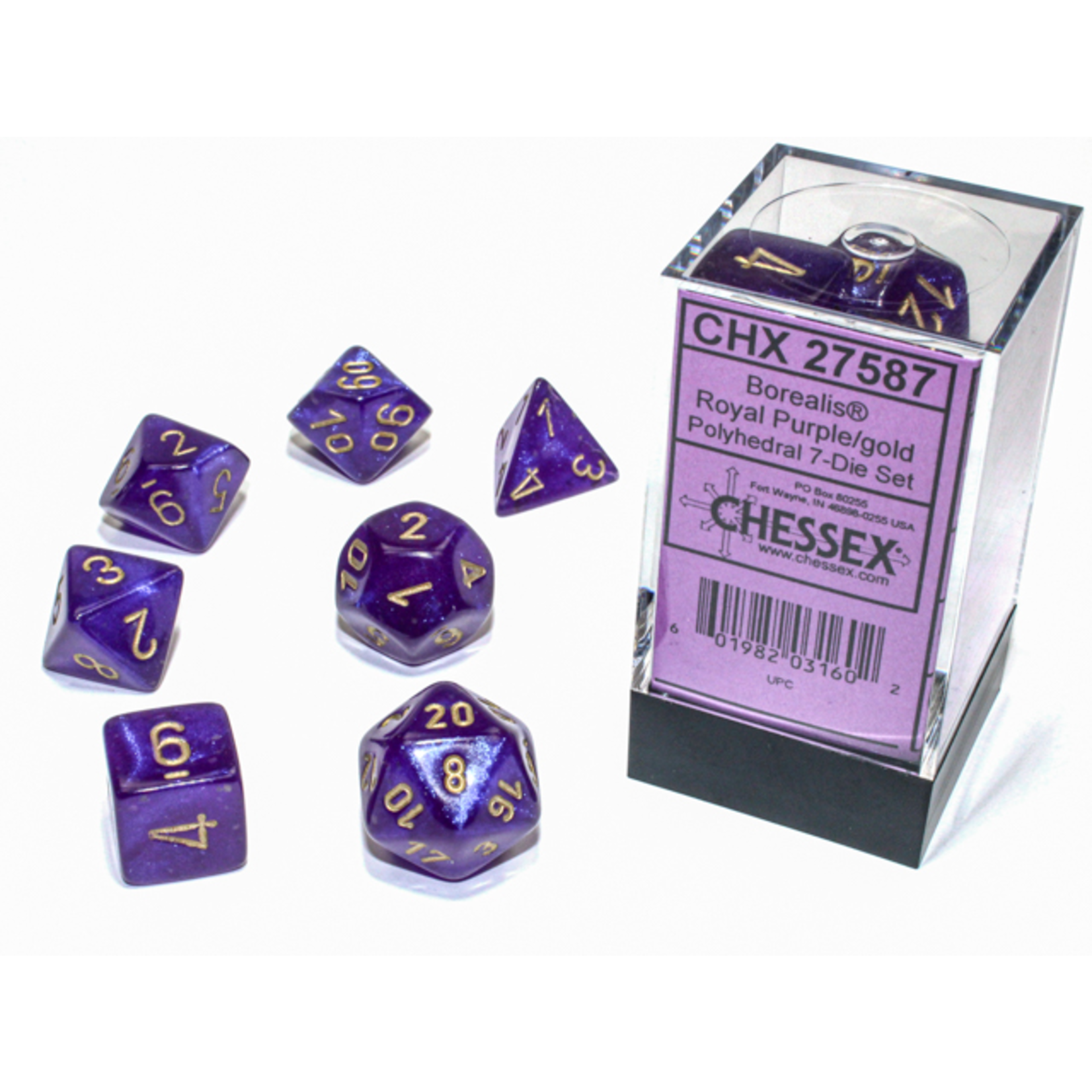 Chessex Dice: 7-Set Borealis Luminary Royal Purple with Gold Numbers (CHX)