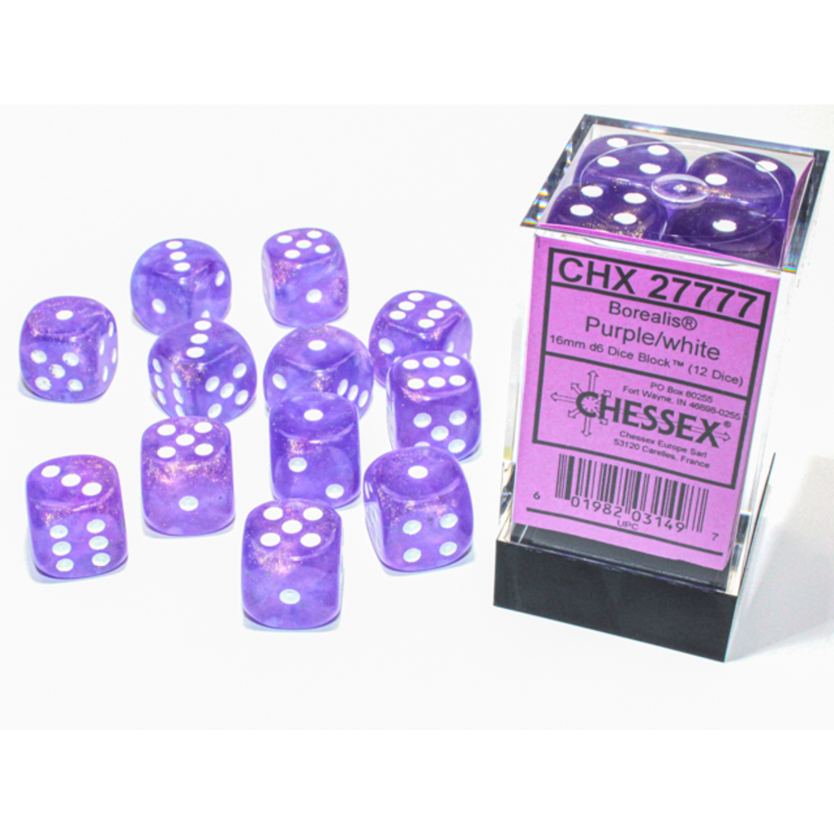 Chessex D6 Cube 16mm Borealis Luminary Purple with White Pips (CHX)