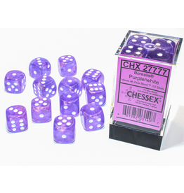 Chessex D6 Cube 16mm Borealis Luminary Purple/White
