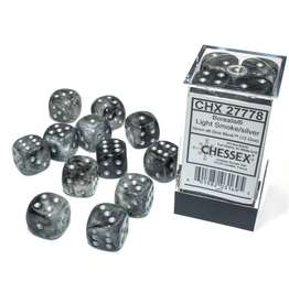 Chessex D6 Cube 16mm Borealis Luminary Light Smoke/Silver