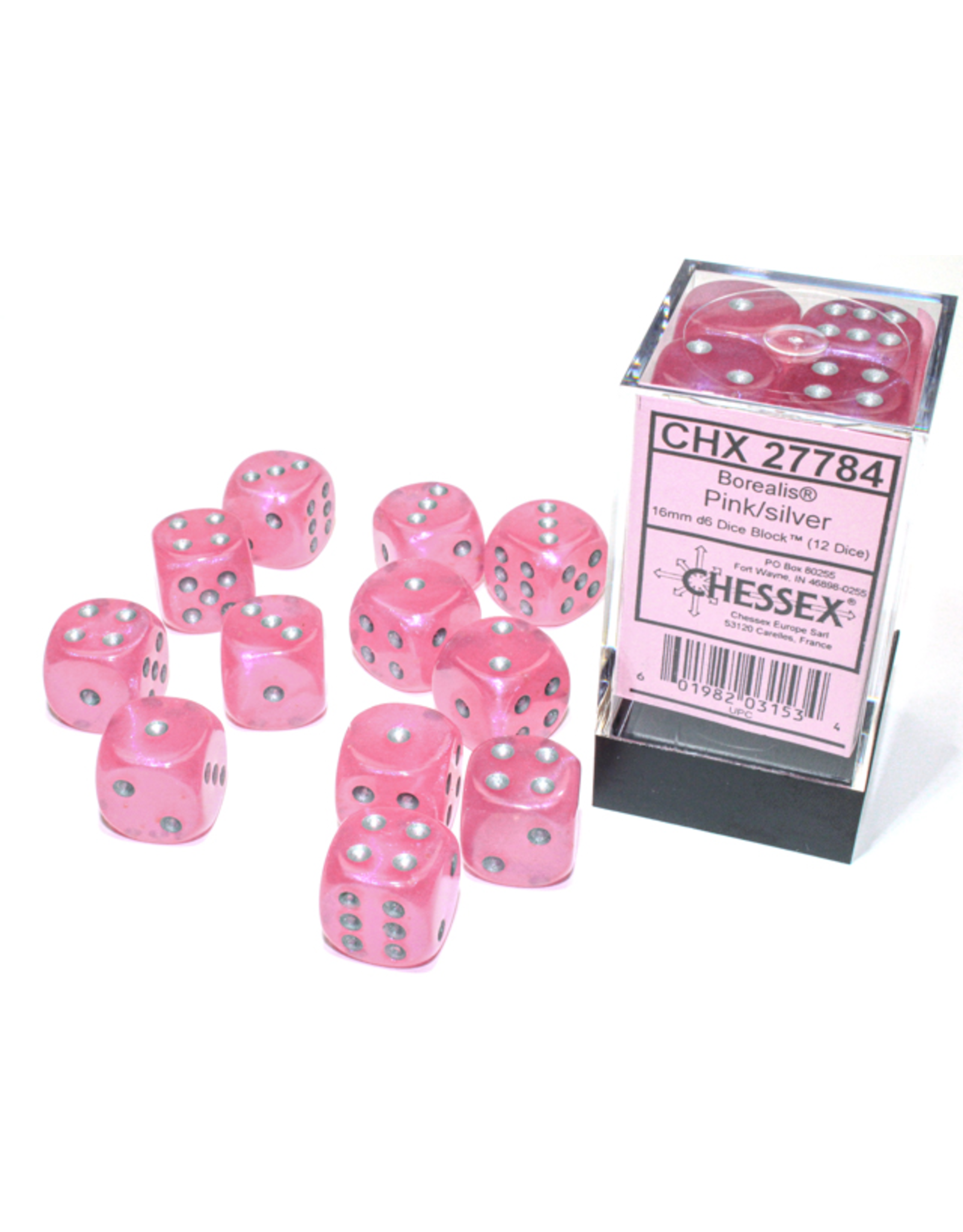 Chessex D6 Cube 16mm Borealis Luminary Pink with Silver Pips (CHX)