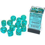 Chessex D6 Cube 16mm Borealis Luminary Teal/Gold