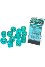 Chessex D6 Cube 16mm Borealis Luminary Teal with Gold Pips (CHX)