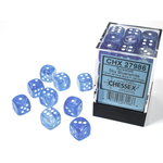 Chessex D6 Cube 12mm Borealis Luminary Sky Blue/White