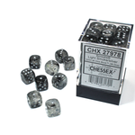 Chessex D6 Cube 12mm Borealis Luminary Light Smoke/Silver