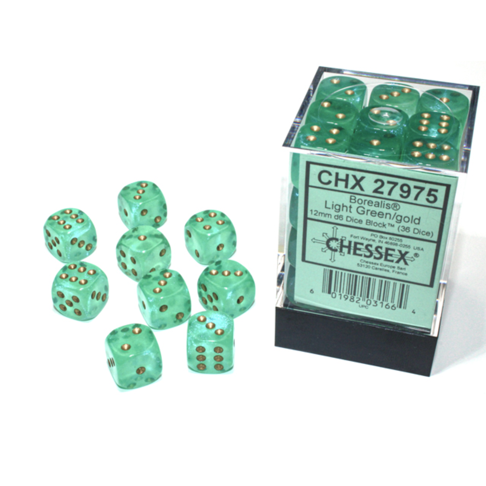 Chessex D6 Cube 12mm Borealis Luminary Light Green with Gold Pips (CHX)