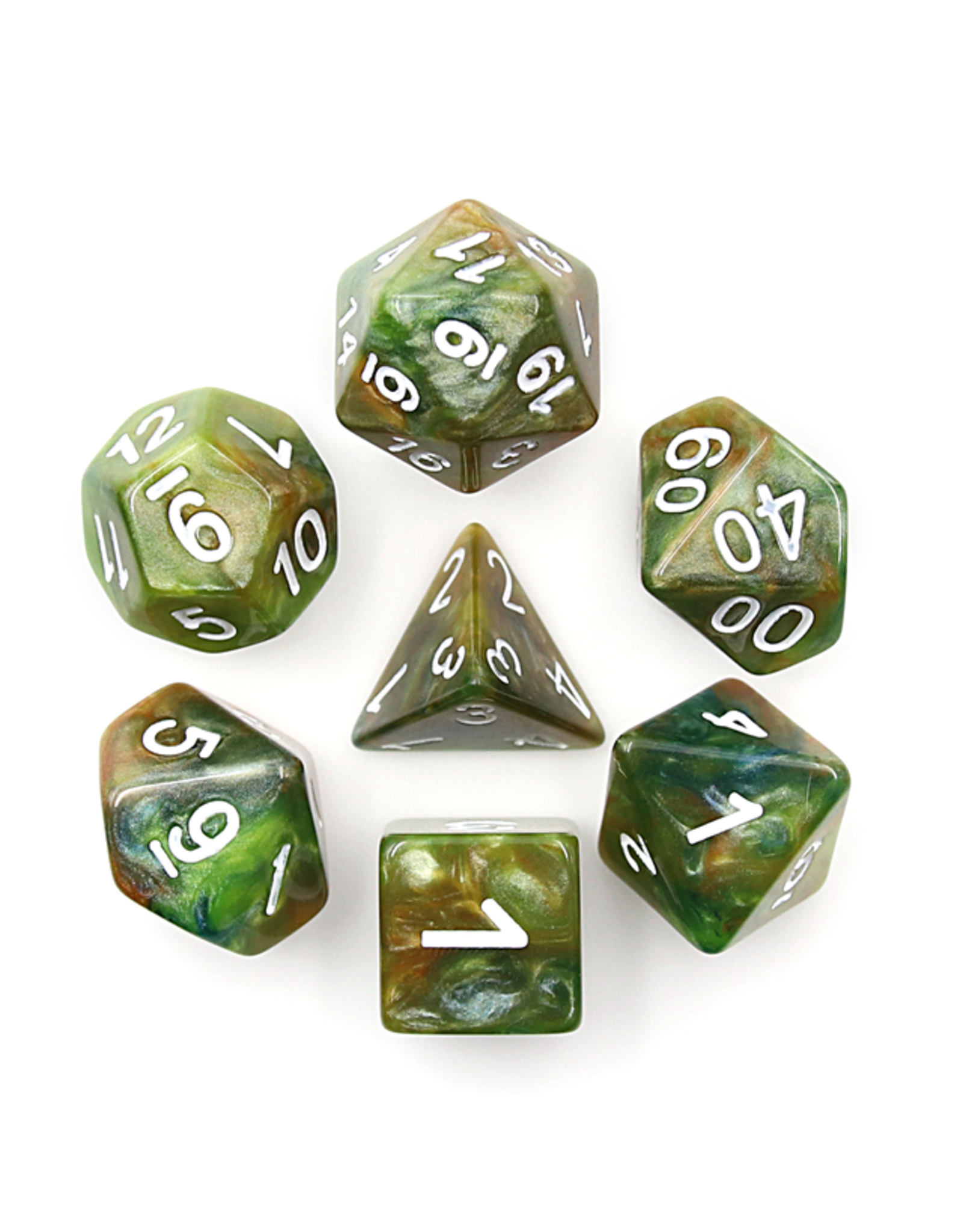 HD Dice Dice: 7-Set Marble Green with White Numbers (HD)