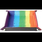 "Metallic Dice Games Velvet Folding Dice Tray 10"" x 10"" Watercolor Rainbow"