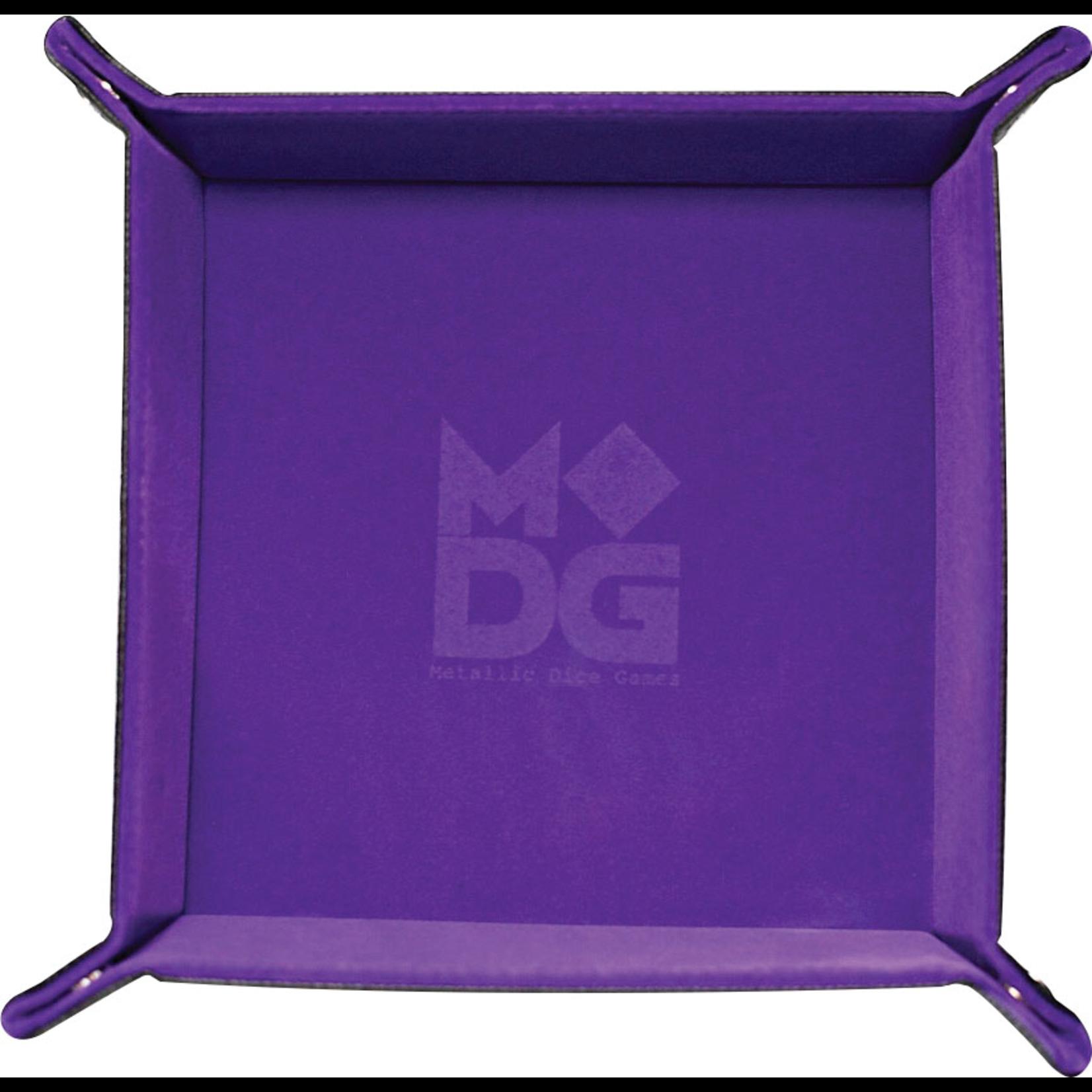 "Metallic Dice Games Velvet Folding Dice Tray 10"" x 10"" Purple"