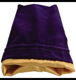 Metallic Dice Games Dice Bag 4x6 Velvet/Satin Purple with Gold