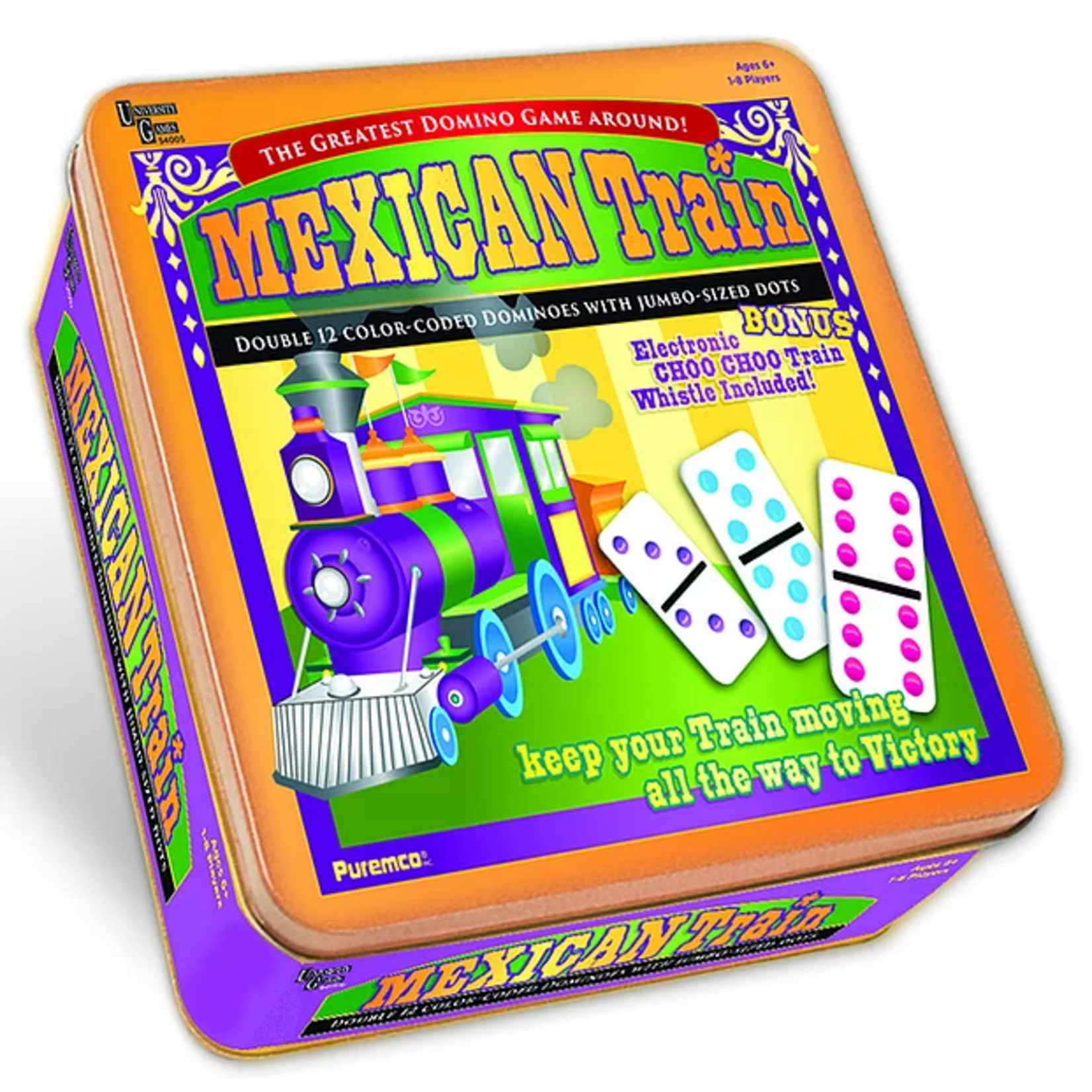 Puremco Mexican Train Dominoes:  Double 12 Color-Coded  with Jumbo-Sized White/Color Dots  (University Games)