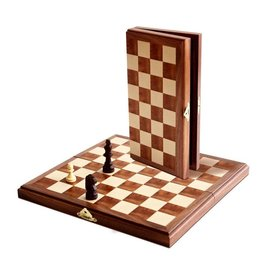 "Wood Expressions 11"" Walnut Wood Magnetic Folding Chess Set"