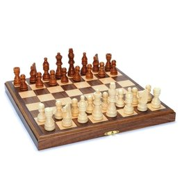 "Wood Expressions 11.5"" Walnut Folding Chess Set with Beveled Edges"