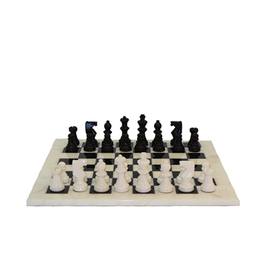 Worldwise Imports [Pickup Only] Chess Set: Black and White Alabaster