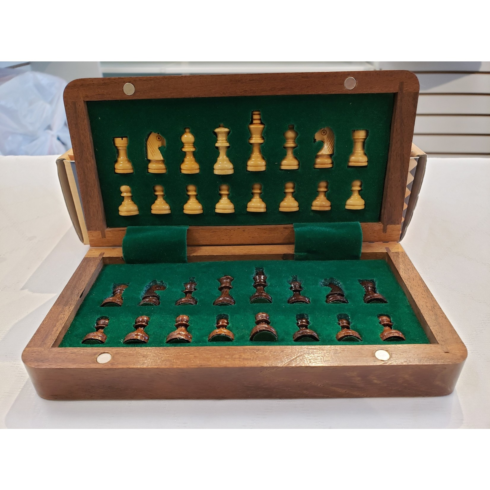 """Wood Expressions Chess Set 7"""" Magnetic Folding"""