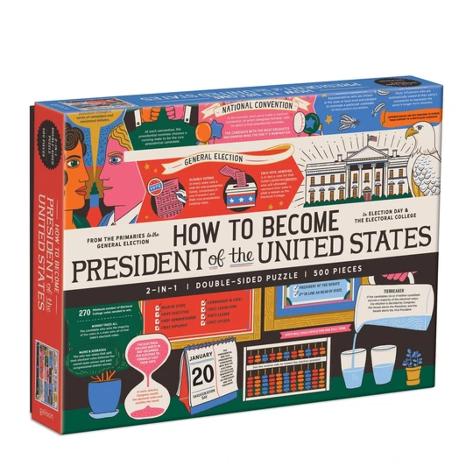 Galison How to Become President of the United States Double-Sided  - 500 Piece Jigsaw Puzzle
