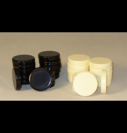 "Worldwise Imports Urea Black and Ivory White Backgammon Checkers 1.5"" (WI)"