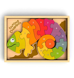 BeginAgain Toys Counting Chameleon Bilingual Puzzle