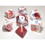Chessex Lab Dice: 7-set Gemini Red White w/ Blue Numbers (CHX)