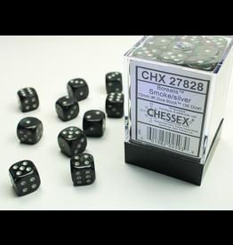 Chessex D6 Cube 12mm Borealis Smoke w/ Silver Pips (CHX)