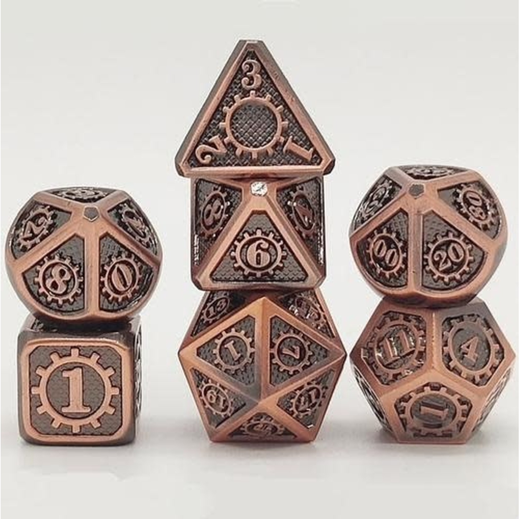 Hymgho Dice US Hymgho 7-Set Gears of Providence Brushed Ancient Bronze Dice Set