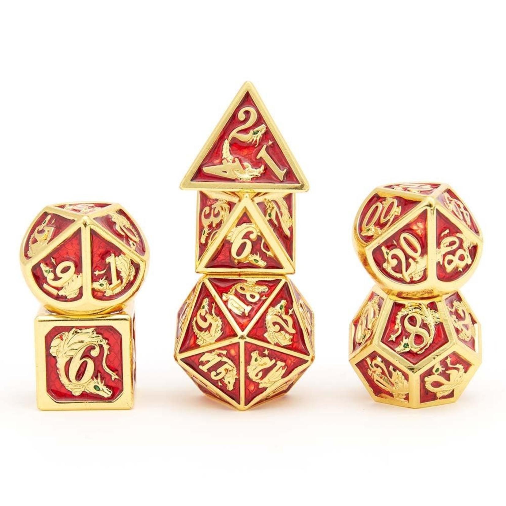 Hymgho Dice US Hymgho 7-Set Metal Dragon Gold with Red Dice