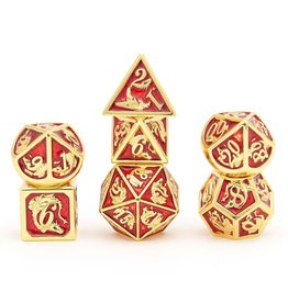 Hymgho Dice US Hymgho 7-Set Metal Dragon Gold with Red Dice