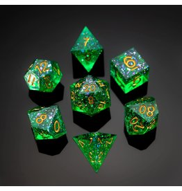 Hymgho Dice US Hymgho 7-Set Captured Magic Green Resin Dice