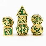 Hymgho Dice US Hymgho 7-Set Metal Dragon Gold with Green Dice