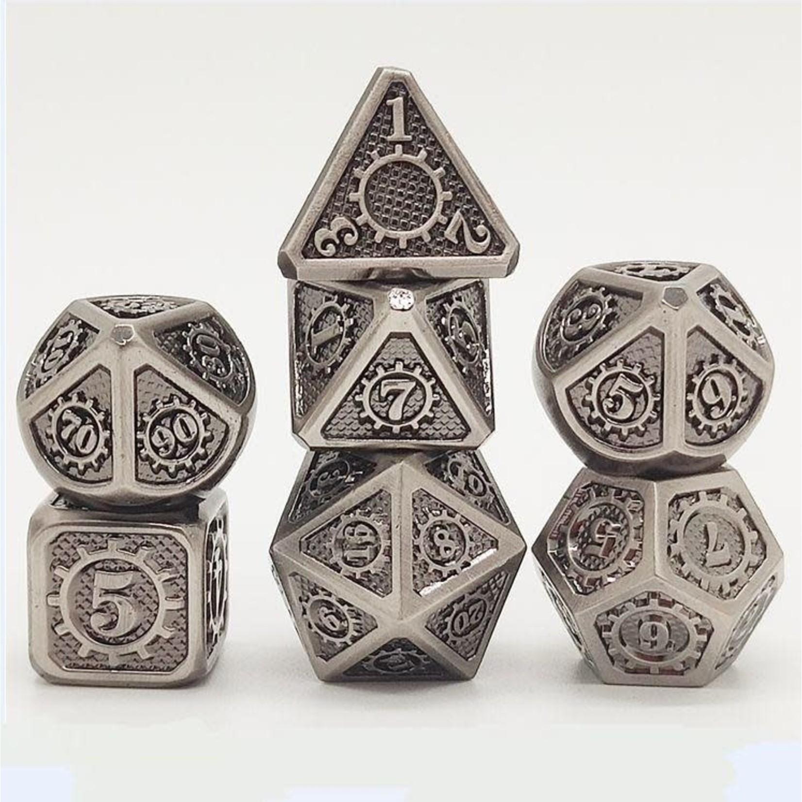 Hymgho Dice US Hymgho 7-Set Gears of Providence Brushed Ancient Iron Dice Set