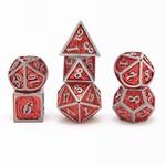 Hymgho Dice US Hymgho 7-Set Metal Dragon Silver with Red Dice